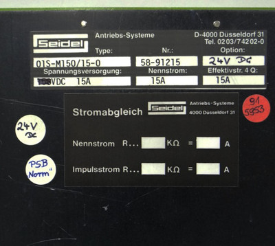 Seidel Antriebs-Systeme Type: 01S-M150/15-0 24VDC 15A -used- – Bild 3