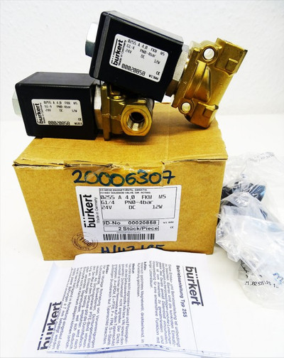 2x Bürkert 0255 A 4,0 FKM MS PN0-4bar Id-No. 00020858 -unused/OVP- – Bild 1