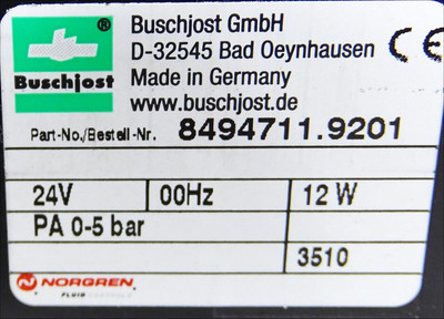Buschjost Norgren 8494711.9201 24V PA 0-5bar -unused/OVP- – Bild 3