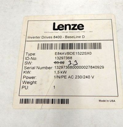 Lenze Inverter Drives 8400 BaseLine D E84AVBDE1522SX0 - unused - in OVP – Bild 3