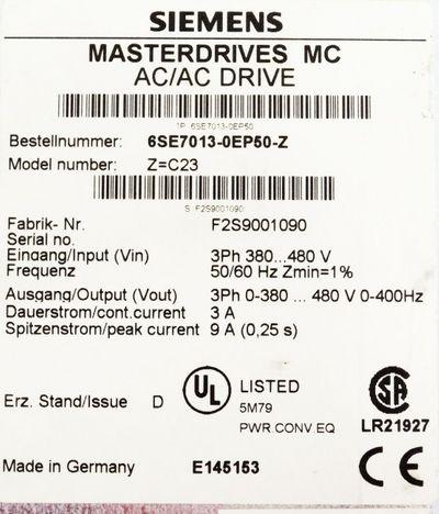 Siemens Masterdrives 6SE7013-0EP50-Z 6SE7 013-0EP50-Z Mod.-Nr. Z=C23 E: D -used-  – Bild 3