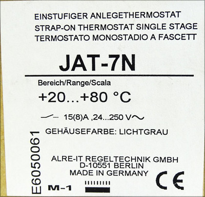 ALRE-IT Regeltechnik JAT-7N  +20 - +80°C Einstufiger Anlegethermostat -unused/OVP- – Bild 3