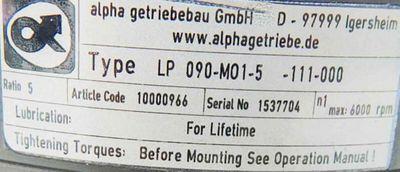 Alpha Getriebe LP 90-M01-5-111-000 -used- – Bild 3