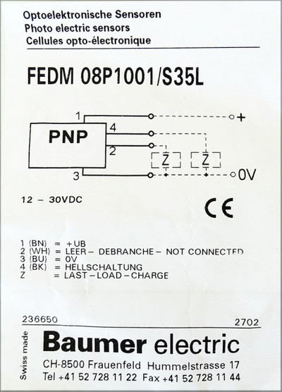 Baumer Electric FEDM 08P1001/S35L Optoelektronische Sensor -unused- – Bild 2