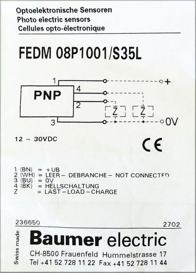 Baumer Electric FEDM 08P1001/S35L Optoelektronische Sensor -unused- – Bild 2