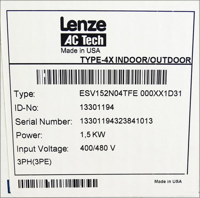 Lenze AC Tech ESV152N04TFE 000XX1D31 1.5 KW/2 HP 400/480V -unused/OVP- – Bild 3