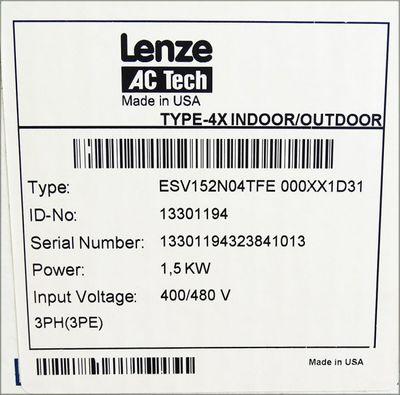 Lenze AC Tech ESV152N04TFE 000XX1D31 1.5 KW/2 HP 400/480V -unused/OVP- – Bild 3