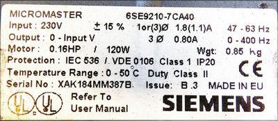 Siemens MICROMASTER 6SE9210-7CA40  6SE9210-7CA40 -used- – Bild 3