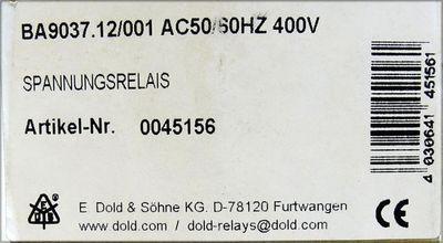 E.Dold Söhne BA9037.12/001 AC50/60HZ 400V Sppannungsrelais -unused/OVP- – Bild 3