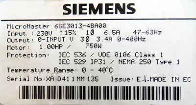 Siemens Simovert Micromaster 6SE3013-4BA00  6SE 3013-4BA00 E-Stand: E -used- – Bild 3