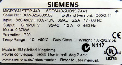 Siemens Micromaster 440 6SE6440-2UD13-7AA1 E-Stand:D05/2.11 -used- – Bild 3