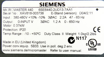Siemens Micromaster 440 6SE6440-2UD13-7AA1 E-Stand: D04/2.11 -used- – Bild 3