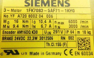Siemens 1FK7083-5AF71-1KH0 Servomotor -unused- – Bild 3
