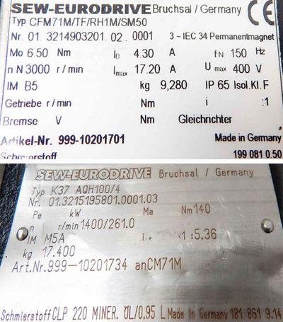 SEW Eurodrive Servo-Getriebemotor KA 37AQH100/4  CM71M/TF/RH1M/SM50-used- – Bild 3
