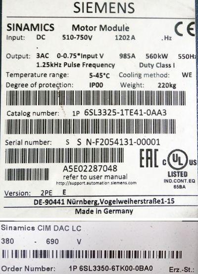 Siemens SINAMICS 6SL3325-1TE41-0AA3 6SL3 325-1TE41-0AA3 Motor Module* – Bild 3
