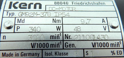 Kern Gleichstrommotor GM92M-378 IP54 -used- – Bild 3