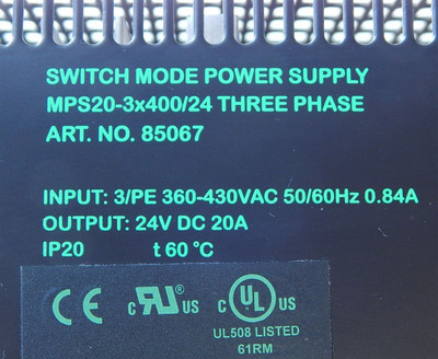 MURR Elektronik Art.No.:85067 Power-Supply MPS SwitchMode 400V 24VDC 20A -used- – Bild 4