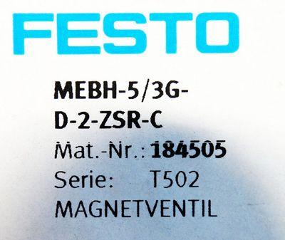 Festo MEBH-5/3G-D-2-ZSR-C Mat. Nr. 184505 Magnetventil -unused/OVP- – Bild 3