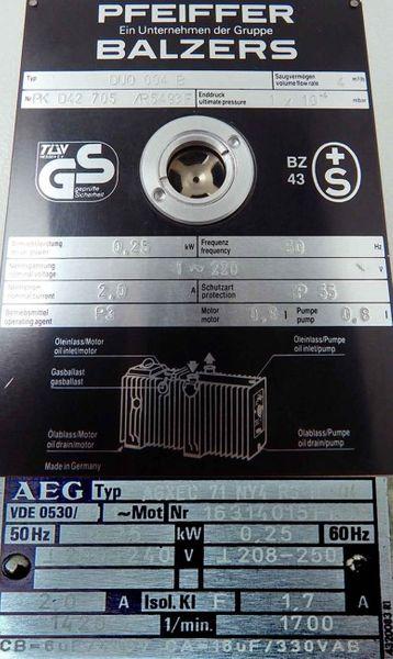 Pfeiffer Balzers DUO 004 B Drehschieber Vakuumpumpe -used- – Bild 3