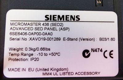 Siemens MICROMASTER 6SE6406-0AP00 6SE6 406-0AP00 E-Stand: B03/1.60 -unused/OVP- – Bild 2