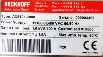 Beckhoff AX5101 AX5101-0000 AX51010000 + AX5911 Digital Servoverstärker -used-  – Bild 3
