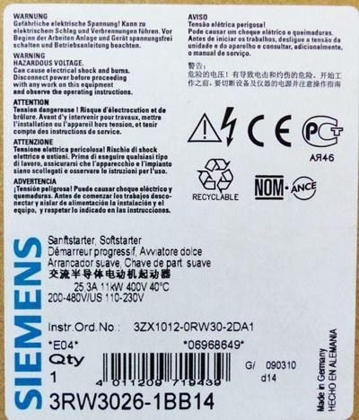 Siemens SIRIUS 3RW3026-1BB14 3RW30 26-1BB14 E-Stand: 04 -unused/OVP- – Bild 3