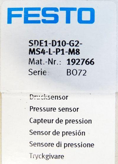 Festo SDE1-D10-G2-MS4-L-P1-M8 Mat. Nr. 192766 Drucksensor -unused/OVP- – Bild 3