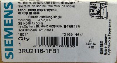 Siemens 3RU2116-1FB1 E: 01 3.5-5.0A Therm. Überlastrelais -unused/OVP- – Bild 3