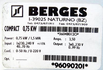 BERGES COMPACT 0,75 KW  0,75 kW/1,5 kVA Frequenzumrichter -used- – Bild 3