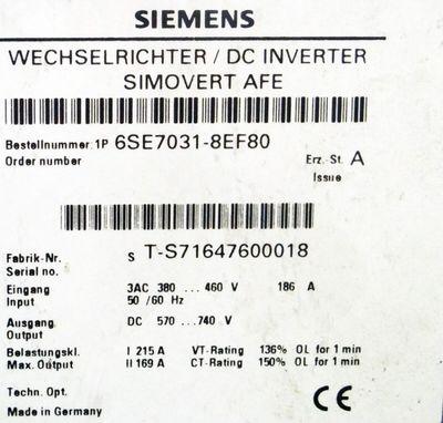 SIEMENS SIMOVERT 6SE7031-8EF80 6SE7 031-8EF80 Wechselrichter – Bild 2