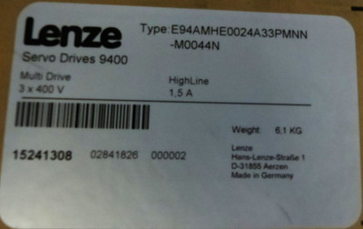 Lenze Servo Drives 9400 E94AMHE0024A33PMNN-M0044N 15241308 1,5A -sealed- – Bild 2