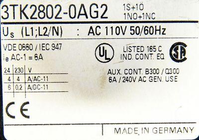 Siemens 3TK2802-0AG2 1S+1Ö 1NO+1NC 110VAC Sicherheitsschaltgerät -used- – Bild 3