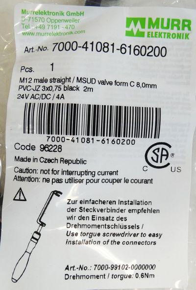 Murr 7000-41081-6160200 Verbindungsleitung 2 mtr. MSUD Ventilstecker -unused/OVP- – Bild 3