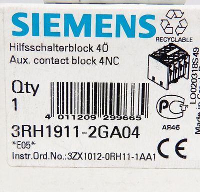 Siemens 3RH1911-2GA04 Hilfsschalterblock 4 Ö  E:05 - unused - in OVP – Bild 3