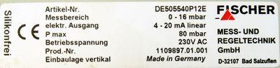 FISCHER Mess und Regeltechnik DE505540P12E 0 - 16 mbar 230V AC -unused- – Bild 3