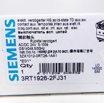 Siemens 3RT1926-2FJ31 Delay switching OFF-Module E:01 -unused - in OVP – Bild 3