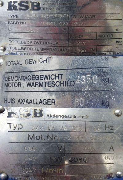 KSB LUV Kesselumwälzpumpe LUVH 125-325/2 Boiler Recirculation Pump -used- – Bild 3