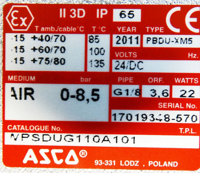 ASCO Numatics PBDU-XM5  WPSDUG110A101 24/DC 0-8,5 bar -unused/OVP- – Bild 3