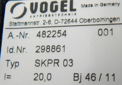 Getriebe SKPR 03 A-Nr. 482254 I=20,0 Hersteller: Vogel - unused - – Bild 3