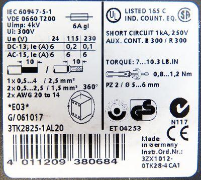 Siemens 3TK2825-1AL20 E:03 Sicherheitskombination 3S 2OE 230VAC -unused/OVP- – Bild 4