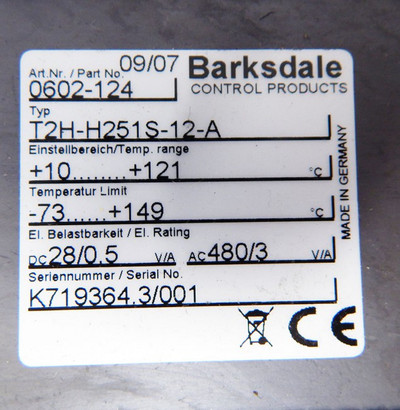 Barksdale T2H-H251S-12-A Remote-Mount-Temperature-Switch  - unused - in OVP – Bild 3