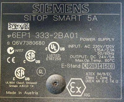 Siemens SITOP Smart 5A 6EP1 333-2BA01 6EP1333-2BA01 Power Supply E: 1 -unused- – Bild 3