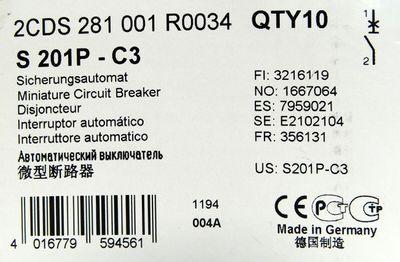 ABB 2CDS 281001R0034 S201P-C3 25A Sicherungsautomat VE=7 Stk. -unused/OVP- – Bild 3