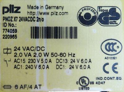 Pilz PNOZ X7 24CACDC 2n/o Id. No. 774059 Not-Aus-Schaltgerät -used- – Bild 3