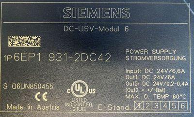 Siemens Sitop DC-USV-Modul 6 6EP1931-2DC42 6EP1 931-2DC42 E:1 Power Supply-used- – Bild 3