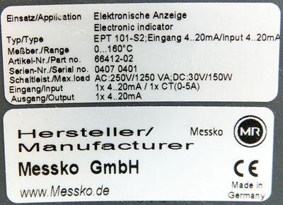 Messko EPT101-S EPT 101-S2 Elektronische Anzeige Eingang 4-20mA -used- – Bild 3