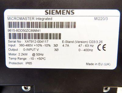 Siemens MICROMASTER 6SE9615-8DD50ZC89M41 + 8PV5640-0AA08 E: C03/3.26 2.2kW -used – Bild 4