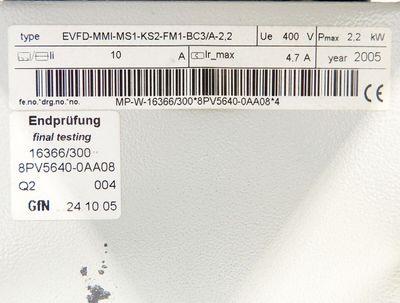 Siemens MICROMASTER 6SE9615-8DD50ZC89M41 + 8PV5640-0AA08 E: C03/3.26 2.2kW -used – Bild 5
