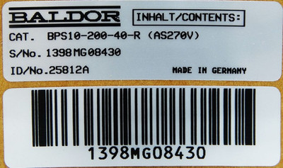BALDOR ASR BPS10 BPS10-200-40-R (AS270V) ID/No. 25812A -unused/OVP- – Bild 3