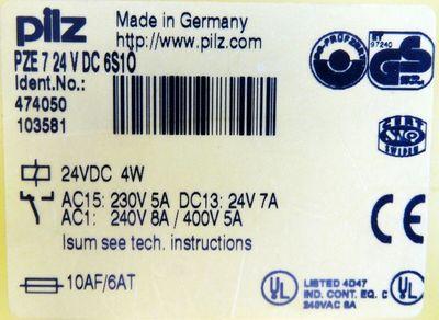 Pilz PZE7 24VDC 6S1Ö Id. No. 474050 Sicherheitsrelais -unused/OVP- – Bild 3